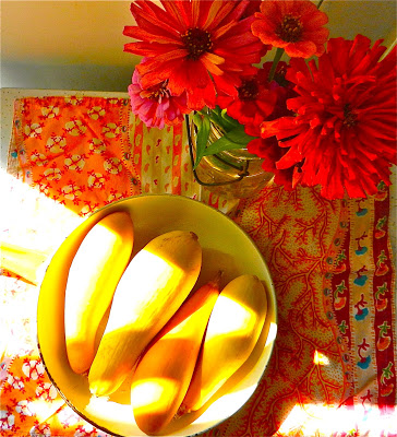 summer squash and zinnias
